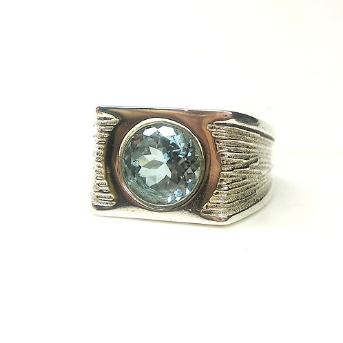 Vintage Style Men's Ring with Natural Blue Topaz in 925 Sterling Silver