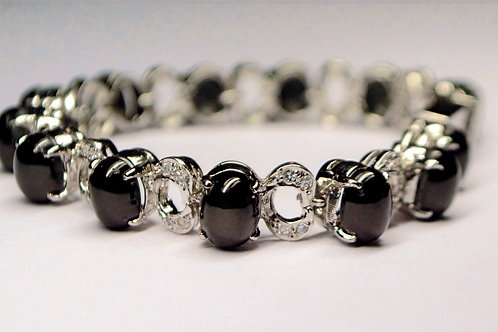 Natural Black Onyx & Cubic Zirconia Bracelet in 925 Sterling Silver