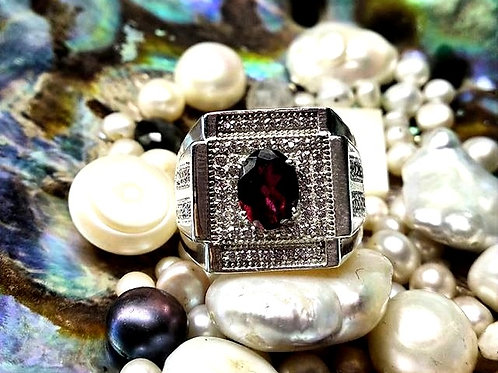 Natural  Faceted Garnet Stacked with Zircons Ring in 925 Sterling Silver