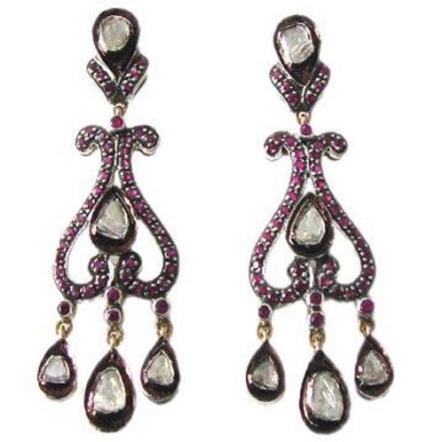 Natural Ruby & White Topaz Handmade Beautiful Earrings in Silver