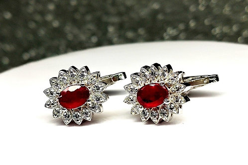 Natural Ruby & White Cz Cufflink In 925 Sterling Silver