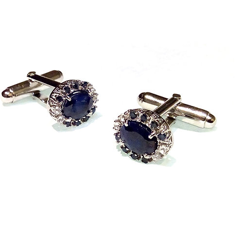 Natural Oval Blue Sapphire Gemstone with Cz in Cufflink Sterling Silver