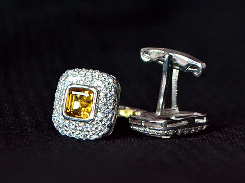 Square Octagon Cut Natural Citrine Studded Cufflink in Sterling Silver