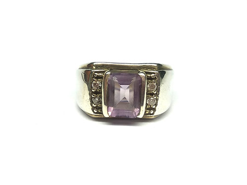 Men's Classic Ring with Natural Amethyst & Zircon in 925 Sterling Silver