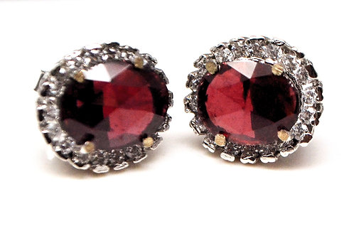 Beautiful Studs with Natural Garnet & Zircon in 925 Sterling Silver