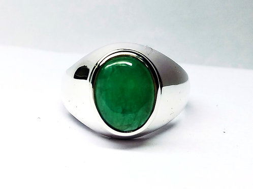 Good Quality Natural Cabochon Oval Emerald Ring in 925 Sterling Silver