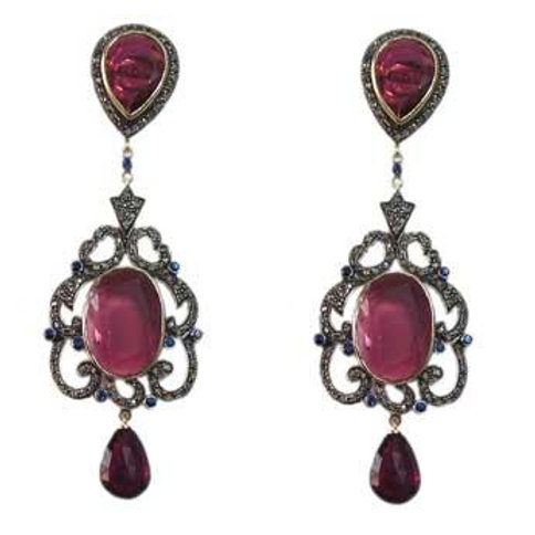 Alluring Natural Ruby and Sparkling Diamond Handmade Earrings in Silver