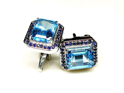 Lovely Cufflinks with Natural Blue Topaz & Blue Sapphires in 925 Sterling Silver