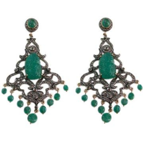 Handmade Earrings with Natural Barial and Natural Diamonds in Silver