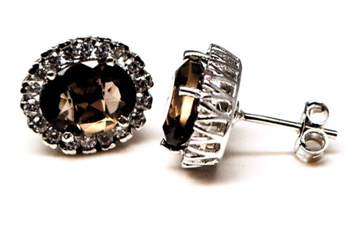 Studs in Natural Oval Cut Smokey Quartz with Clustered Cz in 925 Sterling Silver