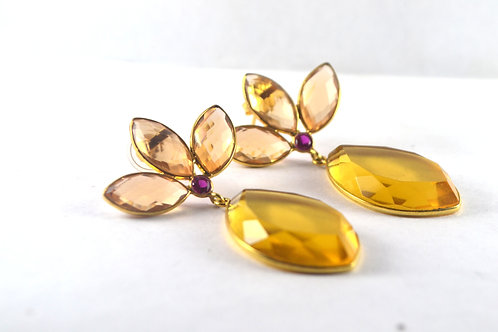 Natural Citrine with Ruby embedded in Gold-Plated Sterling Silver