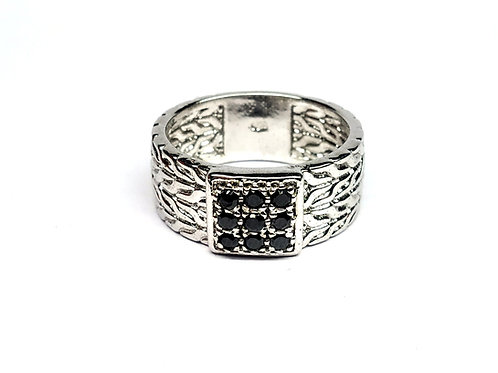 Classic Statement Men's Ring with Natural Blue Sapphires in Sterling Silver