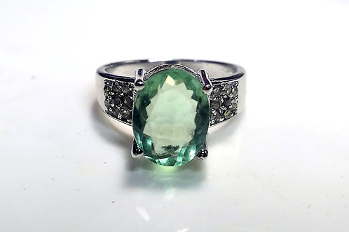 Good Quality Natural Oval Cut Green Amethyst Ring in 925 Sterling Silver