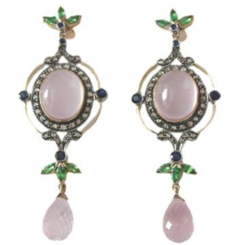 Natural Rose Chalcedony, Diamond,Blue Sapphire & Emerald Earrings in Silver