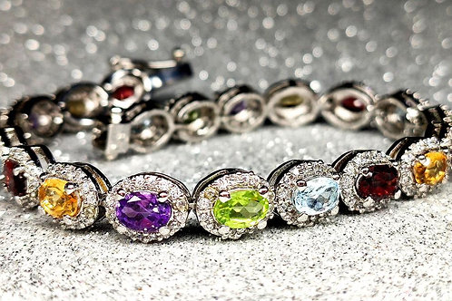 Charming Bracelet with sparkling Natural Multi-Gemstones & Zircons in Silver