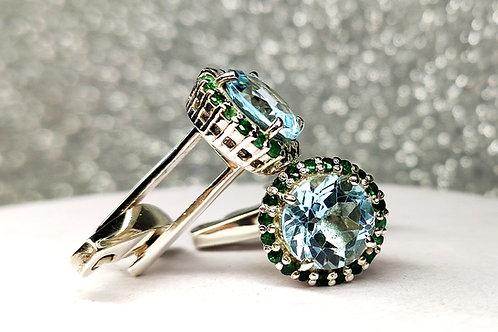 Natural Blue Topaz & Emerald Cufflinks in 925 Sterling Silver