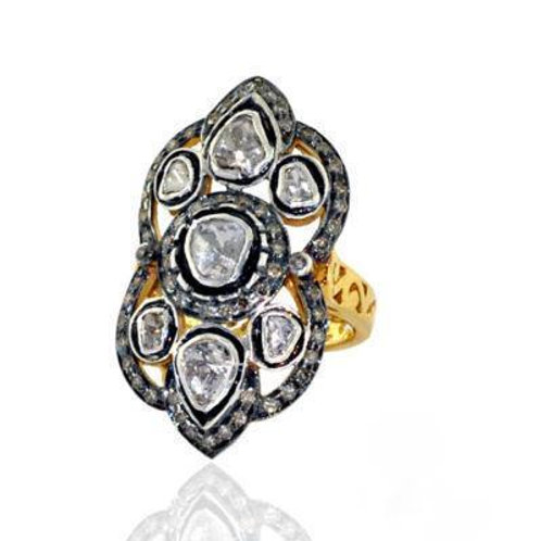 Handmade Beautiful Ring with Natural White Topaz and Diamonds in Silver