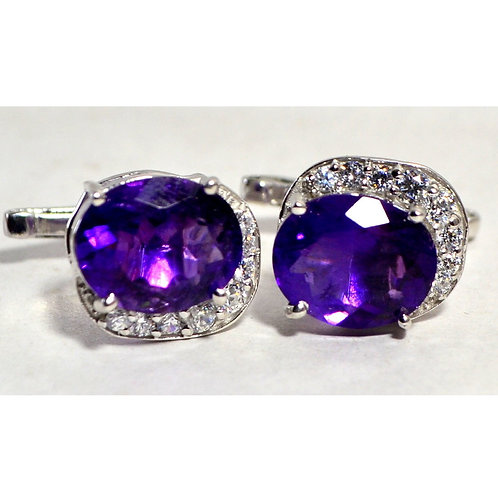Natural African Amethyst Oval Shaped Cufflink in Sterling Silver