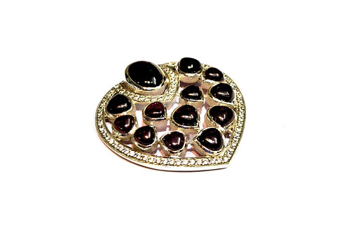 Natural Garnet Brooch studded with American Diamonds in 925 Ste