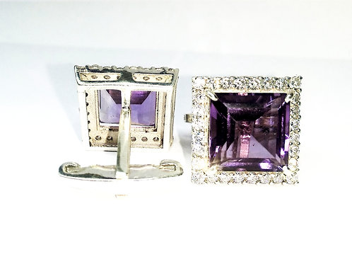Attractive Pair of Natural Amethyst & Zircon Cuff-links in 925 Sterling Silver