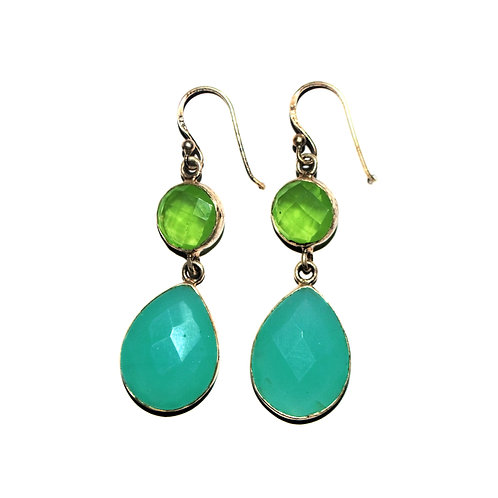 Natural Chalcedony Gemstone Casual Wear Earrings in 925 Sterling Silver