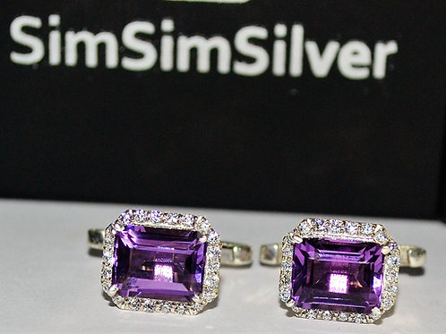 Natural Amethyst & Zircon Cuff-links in 925 Sterling Silver