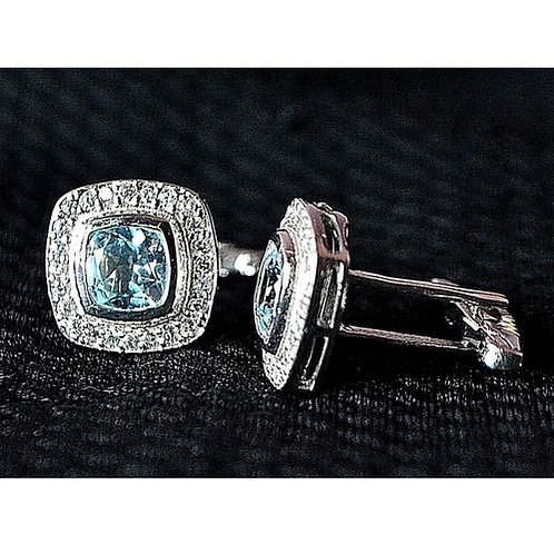 Natural Blue Topaz & American Diamond Studded in Sterling Silver Cufflink
