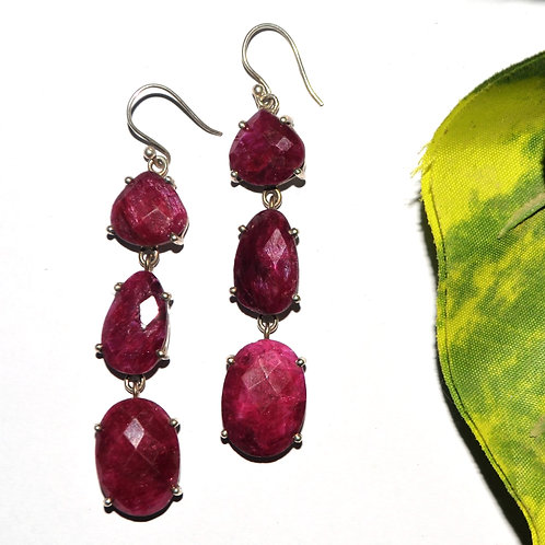 Natural Pink Stone Earrings in 925 Sterling Silver