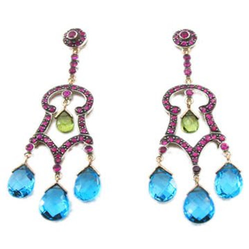 Beautifully Handmade Earrings in Silver with Natural Ruby, Peridot & Blue Topaz