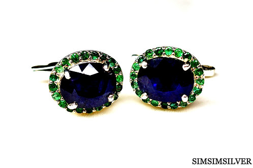 Good Quality Natural Blue Sapphire & Emerald Cufflinks in 925 Sterling Silver