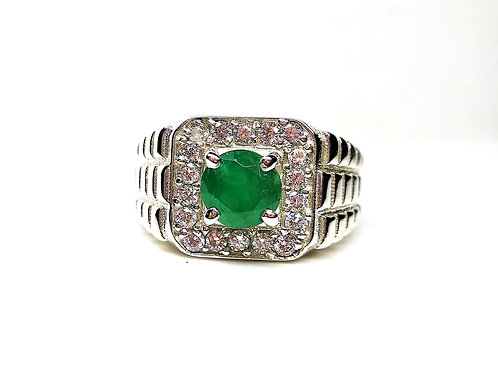 Classic Solitaire Ring with Natural Emerald in 925 Sterling Silver