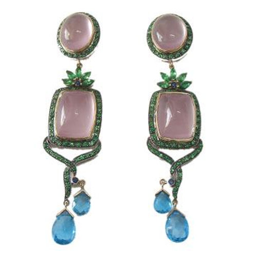 Natural Rose Quartz, Emerald & Blue Topaz Earrings Handmade in Silver