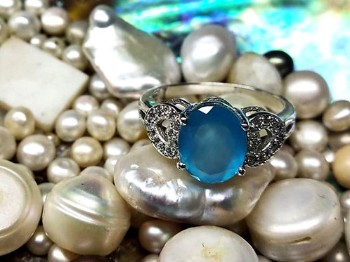 Beautiful Oval Cut Natural Chalcedony & Cz Women's Ring in 925 Sterling Si