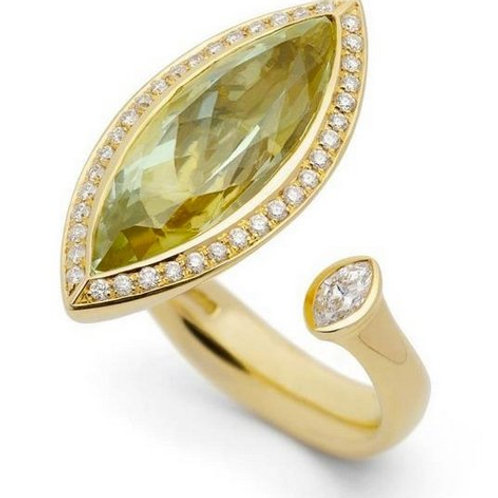 Natural Peridot framed with Natural White Topaz Handmade Gold-Plated Unique Ring