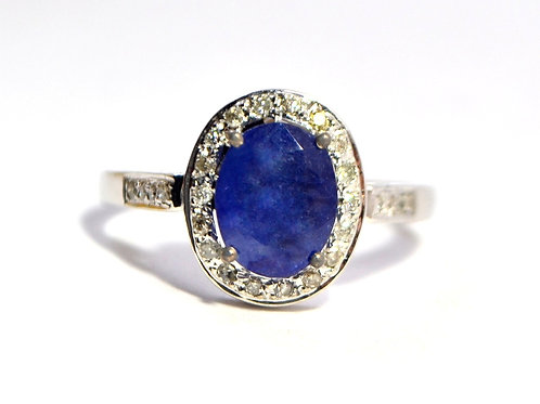 18 k White Gold Natural Ceylon Blue Sapphire with Diamonds