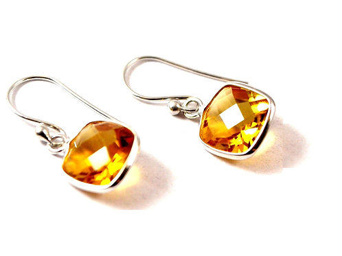 Hanging Cushion Natural Citrine Earring in 925 Sterling Silver
