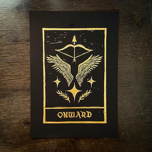 Onward - Original Linocut Print in gold, Signed