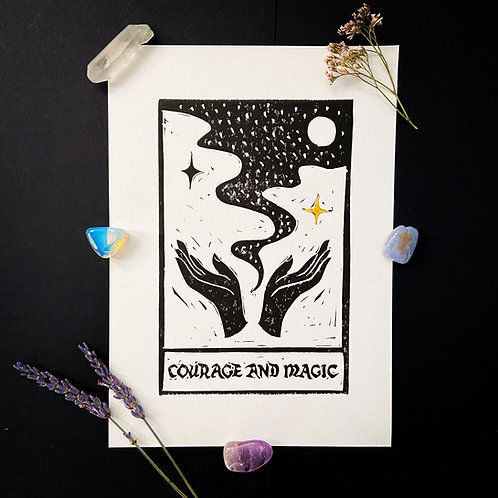 Courage and Magic- Original Linocut Print & Gold Leaf, Signed