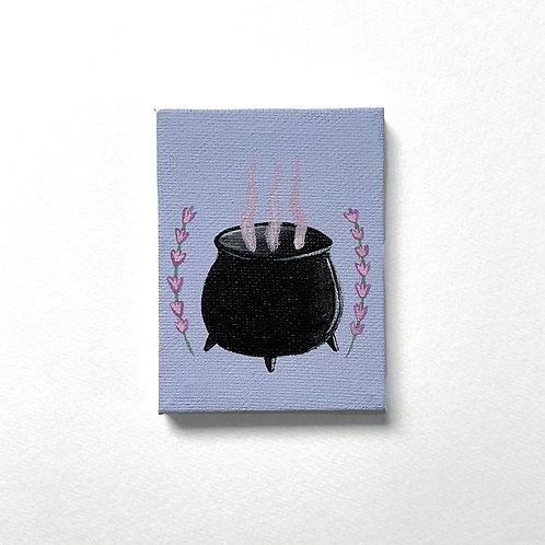 Mini Cauldron with Lavender painting