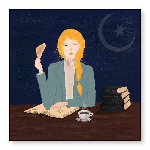 Diana With Books, Tea and Toast print