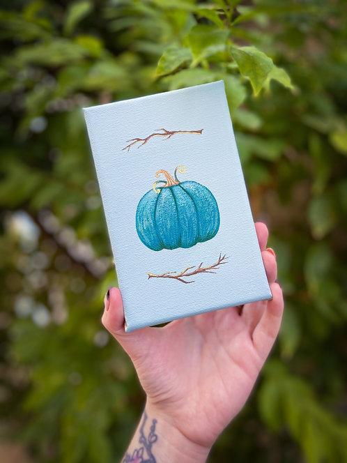 Blue Pumpkin on Canvas