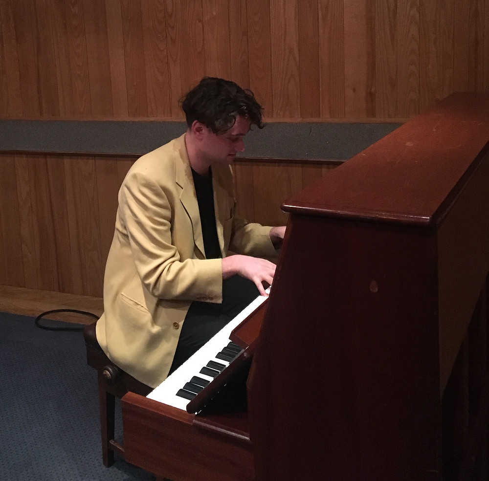 James on Macca's piano, BBC Maida Vale