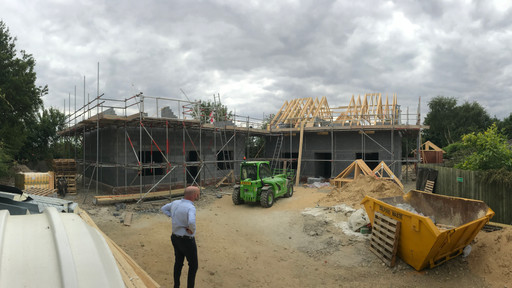 Trusses going on at Factory Lane