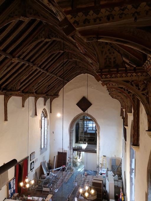 Bardwell Church's hammer beam roof dating from 1421- JSA getting a closer look during works to c