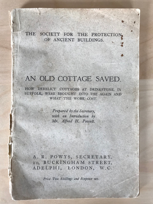 An Old Cottage Saved...Again! Work starts on listed property 97 years after SPAB first carried out r