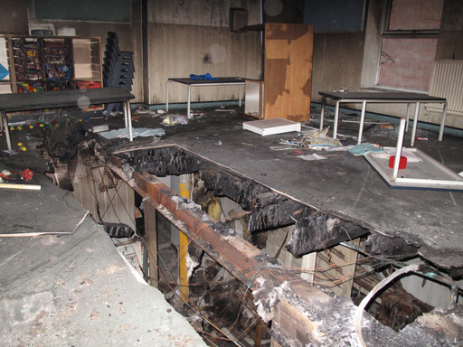 JSA Conservation team carry out inspection of fire damaged grade II listed school building in Hackne