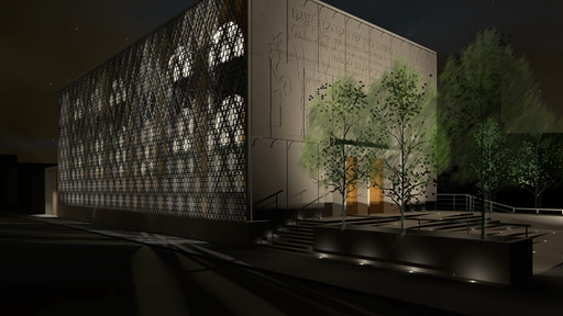 Night time view of proposed Clapton Common Synagogue