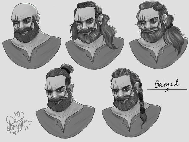 Hair Studies for Gamal