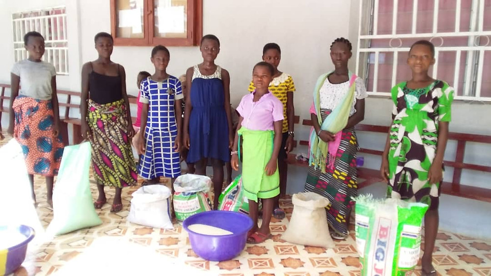 The school is closed, due to the pandemic, but school lunches continue to be provided via distribution of commodities. Teachers and community member are helping transport food to pick-up sites in outlying villages, where many students live.