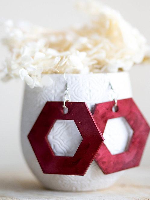 Velvet red hexagon earrings ❤️